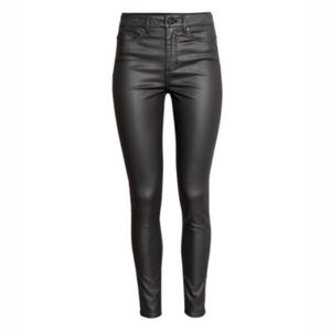 H&M Black Coated Skinny Jeans
